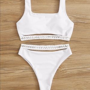 Cut out top with high waisted white bikini medium